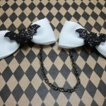 Black Bow Sweater Clips with Glitter Bat Accents