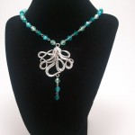 Blue Green Beaded Octopus Necklace