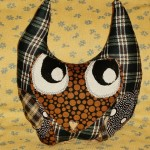 Blue Plaid Owl Pillow