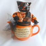 Cat in a Teapot Halloween Decor