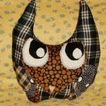 Blue Plaid Owl Pillow