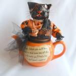 Cat in a Teapot Halloween Decor